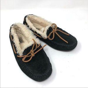 Ugg Dakota black suede slip on moccasins